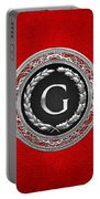 G - Silver Vintage Monogram On Red Leather Portable Battery Charger