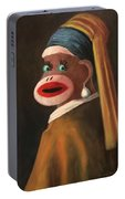 Gal With A Pearl Earring Portable Battery Charger