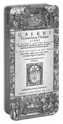 Galen, Opera Omnia, Title Page, 1556 Portable Battery Charger