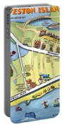Galveston Texas Cartoon Map Portable Battery Charger