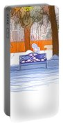 Garden  Bench With Snow Portable Battery Charger