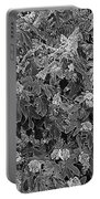 Garden Hydrangeas In Grayscale Portable Battery Charger