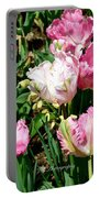 Garden Of Pink Parrot Tulips Portable Battery Charger