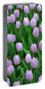 Garden Of Pink Tulips Portable Battery Charger