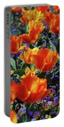 Garden With Blooming Yellow And Red Tulip Blossoms Portable Battery Charger