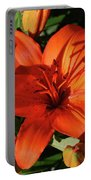 Garden With Lily Buds And A Blooming Orange Lily Portable Battery Charger