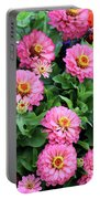 Gathering Of Pink Zinnias Portable Battery Charger