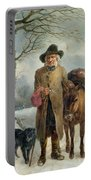 Gathering Winter Fuel  Portable Battery Charger by John Barker