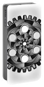 Gearwheel In Black And White Portable Battery Charger
