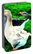 A Couple Of Friendly Geese And One Goose Ready For A Fight  Portable Battery Charger by Hilde Widerberg
