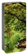 Geese By Pond In Autumn Portable Battery Charger