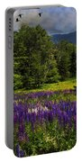 Geese Over Lupine Field Portable Battery Charger