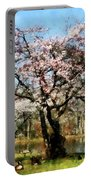 Geese Under Flowering Tree Portable Battery Charger