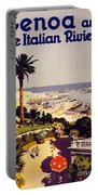 Genoa And The Italian Rivera Vintage Poster Restored Portable Battery Charger