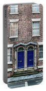 Georgian Blue Door, Red Bricks Wall Portable Battery Charger