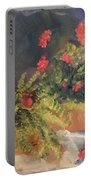 Geranium And Fern Still Life Portable Battery Charger