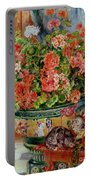 Geraniums And Cats Portable Battery Charger