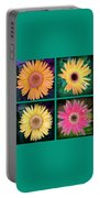 Gerbera Daisy Collage In Square Portable Battery Charger