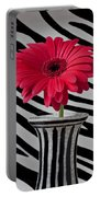 Gerbera Daisy In Striped Vase Portable Battery Charger