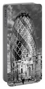Gherkin And St Andrew's Black And White Portable Battery Charger