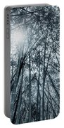 Giant Bamboo In Forest With Sunflare, Black And White Portable Battery Charger