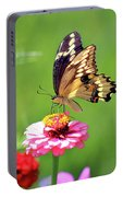 Giant Swallowtail Butterfly On Pink Zinnia Portable Battery Charger