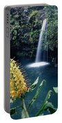100638-ginger Lily And Hawaiian Waterfall  Portable Battery Charger