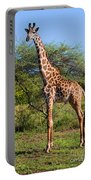 Giraffe On Savanna. Safari In Serengeti Portable Battery Charger