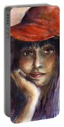 Girl In A Red Hat Portrait Portable Battery Charger