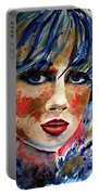 Girl In Blue And Gold Portable Battery Charger