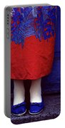 Girl In Colorful Flower Dress Portable Battery Charger