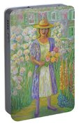 Girl In Monet's Garden At Giverny Portable Battery Charger