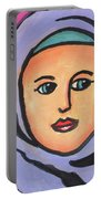 Girl In Purple Scarf Portable Battery Charger