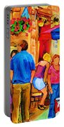Girl In The Cafe Portable Battery Charger by Carole Spandau