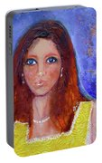Girl In Yellow Dress Portable Battery Charger