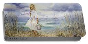 Girl And Ocean Watercolor Portable Battery Charger