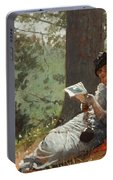 Girl Reading Under An Oak Tree Portable Battery Charger