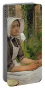 Girl Shelling Peas Portable Battery Charger