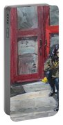Girl Sitting At Red Doorstep Portable Battery Charger