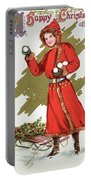 Girl Throwing Snowballs In A Christmas Landscape Portable Battery Charger