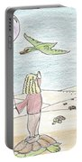 Girl Under Turtles Portable Battery Charger