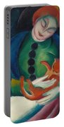 Girl With A Cat II Portable Battery Charger