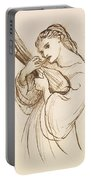 Girl With A Musical Instrument Portable Battery Charger