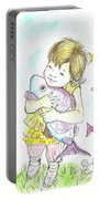 Girl With A Toy-fish Portable Battery Charger