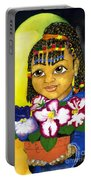 Girl With African Violet Portable Battery Charger