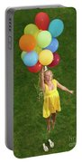 Girl With Air Balloons Portable Battery Charger