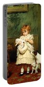 Girl With Dogs Portable Battery Charger by Charles Burton Barber