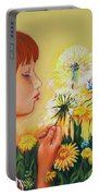 Girl With Flower Portable Battery Charger