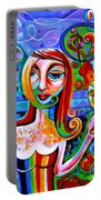Girl With Glass Of Chardonnay Portable Battery Charger