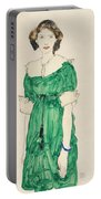 Girl With Green Dress Portable Battery Charger